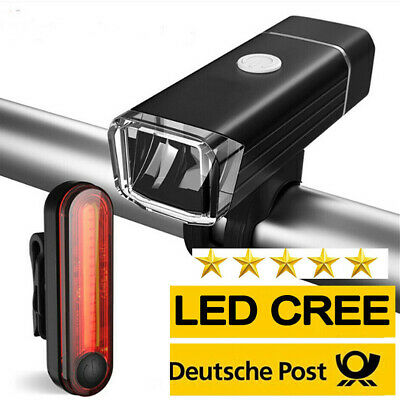 Rechargeable Bicycle Bike Front Rear Light Set LED Mountain Cycle Headlight CHL