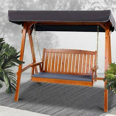 3 Seater Wooden Timber Swing Chair Garden Patio Bench Canopy Outdoor Furniture