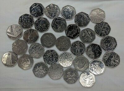 Job Lot 31 Collectable 50p Pence Coins includes Beatrix Potter, NHS, WWF & more