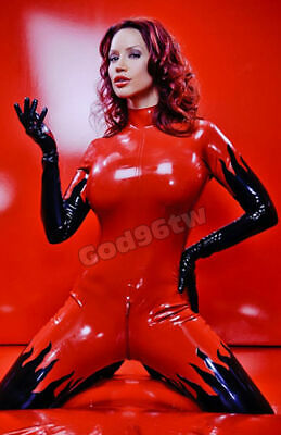 Latex Anzug Rubber Rot Tights Catsuit Gummi Ganzanzug Latexanzug Latexuniform