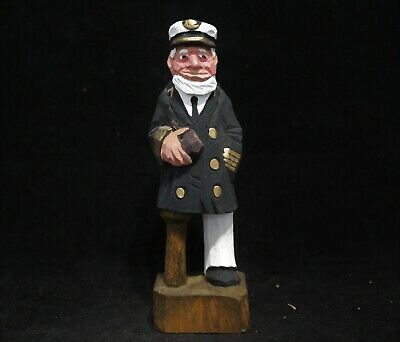Hand Carved/Painted Wooden Ship Captain With Peg Leg & Rum Bottle