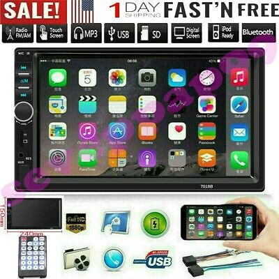 "7"" Inch Double 7018B 2 DIN Car FM Stereo Radio MP5 Player TouchScreen Blue-tooth"