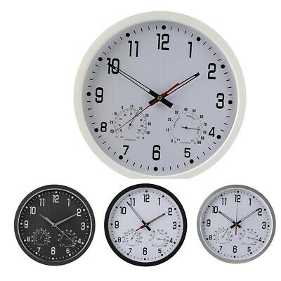 Mute Wall Hanging Clock with Temperature & Humidity Reader Dial Clock 35cm