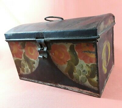 Antique Hand-Painted Toleware Document Box