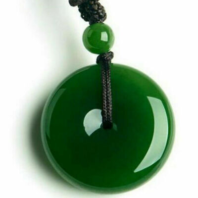Chinese Faux Jade Yongshan Culture Safety Buckle Pendant NecklaceJewelry