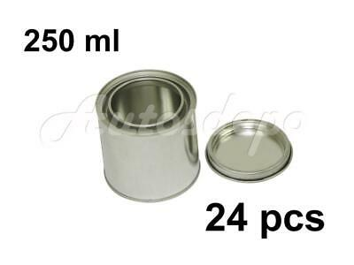 1/4 Quart, 1/2 pint, 250 ml Empty Metal Paint Can With Lid (24 Cans and 24 Lids)