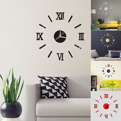 3D DIY Extra Large Numerals Luxury Mirror Wall Sticker Clock Home Decor Gifts UK