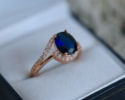 Vintage Jewellery Gold Ring Blue White Sapphires Antique Dress Jewelry  R 9