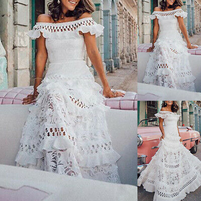 Frauen Sexy Schulterfrei Boho Ruffles Lang Ballkleid Spitze Hohl Cocktail Party