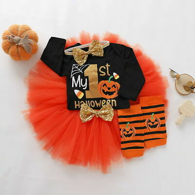 Sale! My 1st Halloween Baby Girls Pumpkin Outfits Tops Romper+Tutu Skirt Clothes
