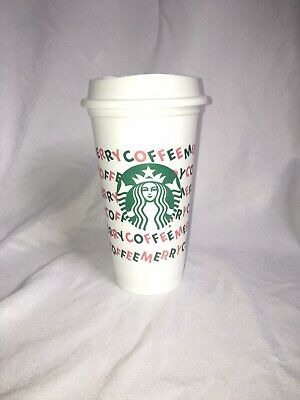 FREE SHIPPING new STARBUCKS Holiday 2019 Merry Coffee Hot Cup Reuseable 16oz