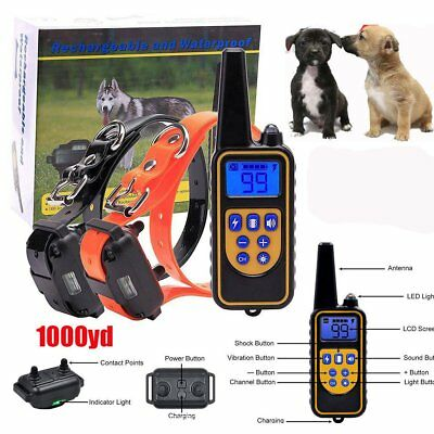 Rechargeable LCD Electric Remote Dog Training Shock Collar Waterproof 1000 Yard