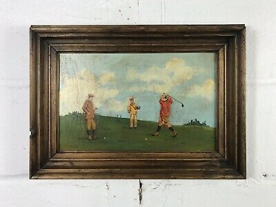 Antique Early 20th Century School Oil On Panel Sporting Golf Scene