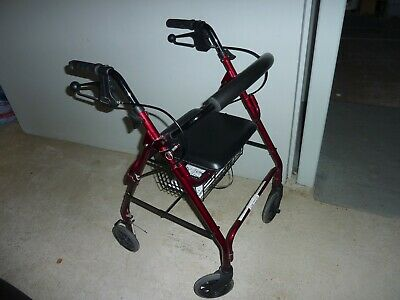 Mobility Walking Frame - 4 Wheels, Burgundy, with seat and basket