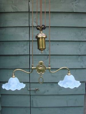 Antique Parlour Rise And Fall Twin Arm Ceiling Light, Opalescent Glass Shades