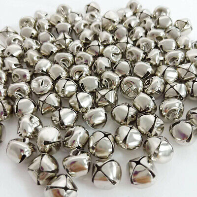 100Pcs 12mm Silver Metal Christmas Jingle Bells Pendants Charms Craft Beads AU