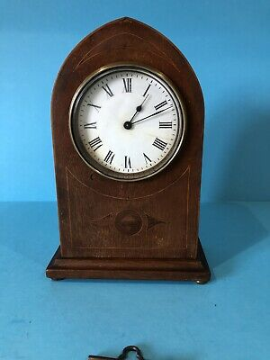 Antique French Mantle Clock Wood Case With Original Key