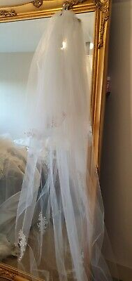 """Veil Wedding bride hair accessories 126"""" 2 tier Ivory raw edge lace - NEW"""