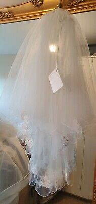 """Veil Wedding bride hair accessories 54"""" 2 tier Ivory lace scallop edge - NEW"""