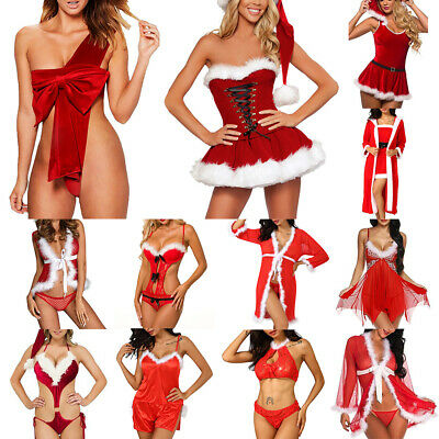 Womens Christmas Sexy Lingerie Ladies Babydoll G-string Underwear Nightwear Sets