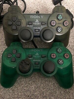 2 OFFICIAL Sony PlayStation PS1 PS2  Controller Clear GREEN Dual Shock SCPH-1200