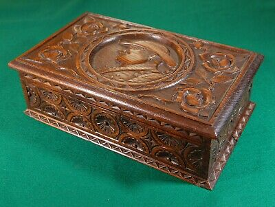 Old carved English oak wood box with an old sailor.  R960110