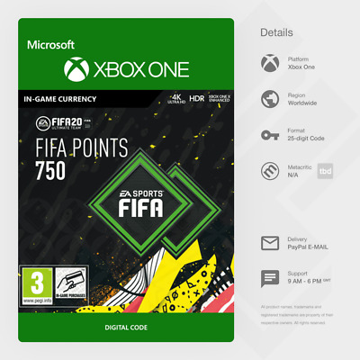 FIFA 20 Ultimate Team FUT - 750 FIFA Points (Xbox One) - Digital Code [GLOBAL]