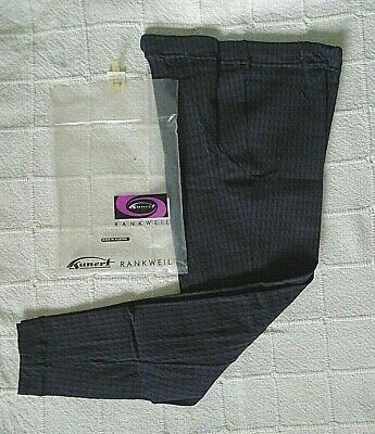 Vintage Stretch Skinny Trousers - Age 10 Years - Navy/Brown Check - Nylon-New