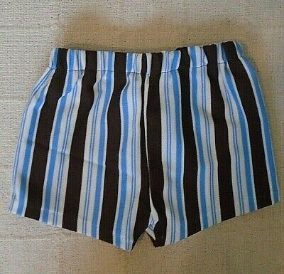 Vintage Stretch Shorts - Age 4-6  Years Approx - Brown/Blue Stripe - New.