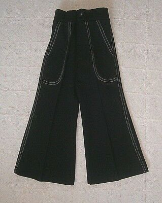 Vintage Flared Trousers - Age 2-3 Years -Black - Zip front & Elastic Waist- New