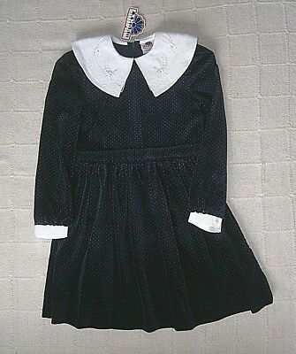 Vintage Quality Party Dress - Age 6 Years - Velvet - Midnight Blue - New