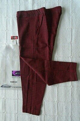 Vintage Stretch Skinny Trousers - Age 6 years  Approx - Red/Bottle Check - New