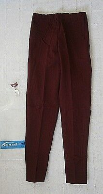 Vintage Stretch Skinny Trousers - Age 12 Years Approx - Wine Ribbed Nylon - New