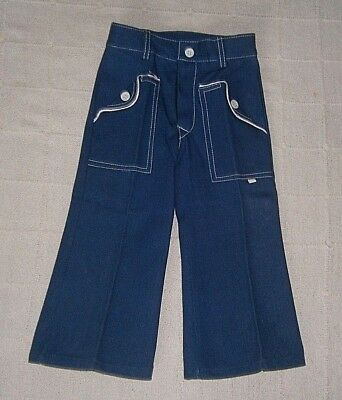 Vintage Flared Denim Trousers - Age 3 Approx - Navy - Button Pockets - New