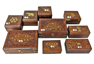 Wooden Stash Storage Wooden Jewellery Gift Rolling Box Indian Carved Small Large