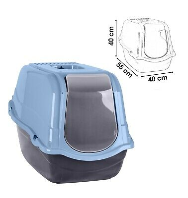 Blue Portable Hooded Cat Litter Box Covered Tray Hand Carry Travel Pet Toilet