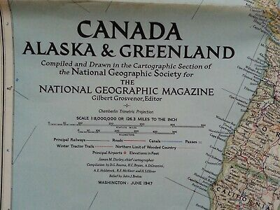 Vintage map National Geographic Canada, Alaska & Greenland June 1947