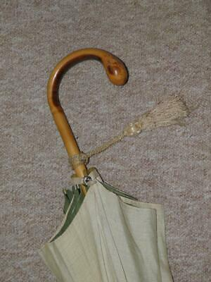 Vintage/Antique Cotton Double Canopy Parasol With A Wooden Crook Root Handle