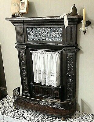 Antique Cast Iron Fireplace with Decorative Tiles ~ Period Fire Surround