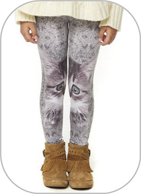 New Girls Age 4/5 Years Sublimation Cat Print Polyester Leggings Multi Grey Bnwt