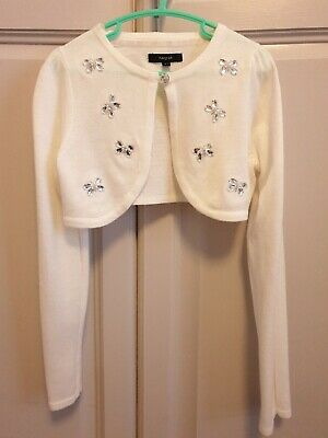 Autograph Marks & Spencer Girls Ivory Cream Shrug Pretty Butterflies 6-7 years