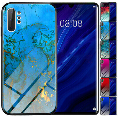 For Samsung Galaxy S9 S10 Plus Note 10 9 Luxury Rubber Tempered Glass Phone Case