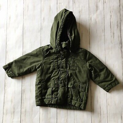 Baby Gap Toddler Boys Size 18-24 Months Green Flannel Lined Hooded Zip Jacket