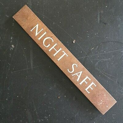 Vintage copper & enamel Night Safe door plaque/sign - decorative salvage