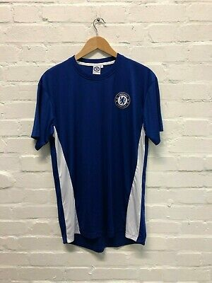 Chelsea FC Official Men's Club Poly T-Shirt - Large - Blue/White - New