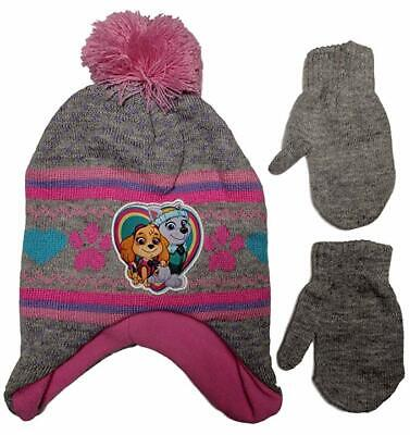 Girls' Toddler Paw Patrol Hat and Mittens Cold Weather Set, Red/Black, Age 2-4