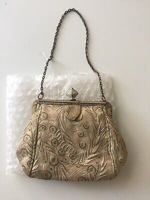 Antique Vintage Embroidered Small Handbag With Purse And Compact Mirror