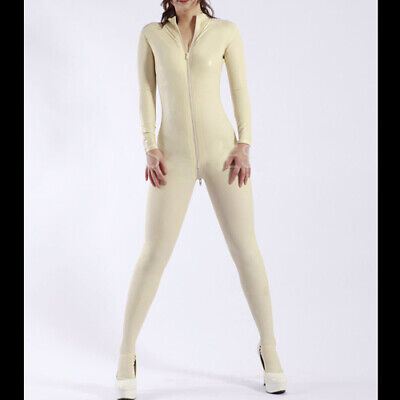 New Style Latex Rubber Gummi Women White Full Cover Catsuit With Zipper S-XXL