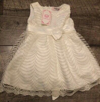 Baby Girls Cream Embroidered Pearl Bow Satin Party Wedding Dress Age 18 Months