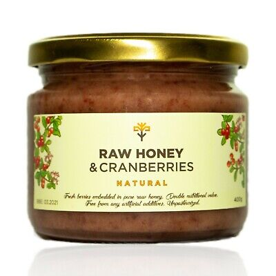 Raw HONEY with CRANBERRIES Natural Fresh Berries Creamy Unpasteurized 400g